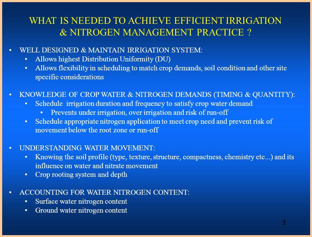 WHAT IS NEEDED TO ACHIEVE EFFICIENT IRRIGATION & NITROGEN MANAGEMENT PRACTICE .