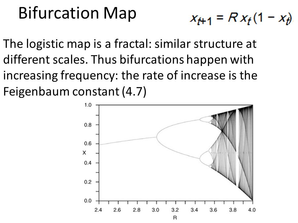 Bifurcation Map The logistic map is a fractal: similar structure at different scales. Thus bifurcations happen with increasing frequency: the rate of