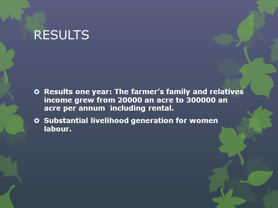 RESULTS  Results one year: The farmer's family and relatives income grew from 20000 an acre to 300000 an acre per annum including rental.
