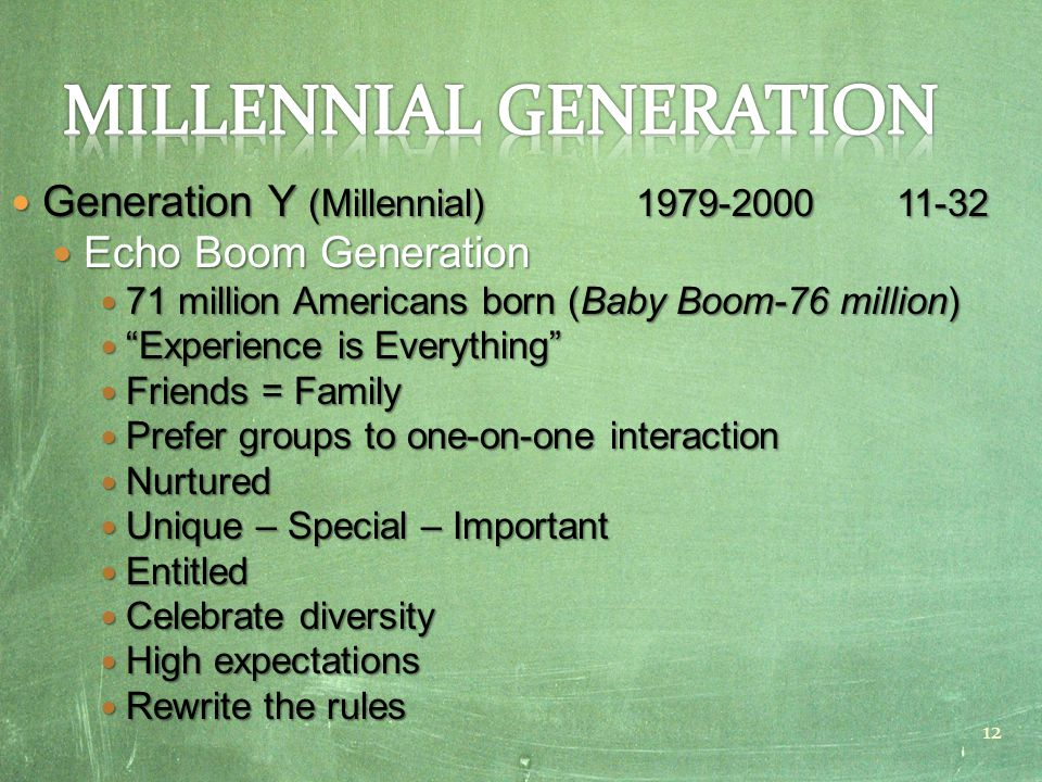 Generation Y (Millennial) 1979-2000 11-32 Generation Y (Millennial) 1979-2000 11-32 Echo Boom Generation Echo Boom Generation 71 million Americans born (Baby Boom-76 million) 71 million Americans born (Baby Boom-76 million) Experience is Everything Experience is Everything Friends = Family Friends = Family Prefer groups to one-on-one interaction Prefer groups to one-on-one interaction Nurtured Nurtured Unique – Special – Important Unique – Special – Important Entitled Entitled Celebrate diversity Celebrate diversity High expectations High expectations Rewrite the rules Rewrite the rules 12