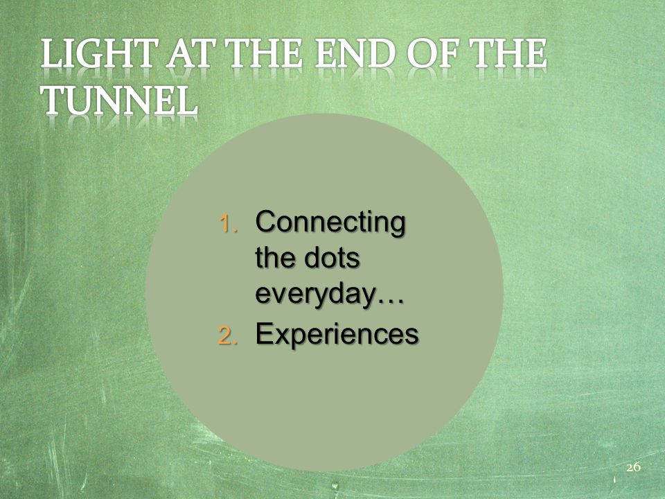 1. Connecting the dots everyday… 2. Experiences 26