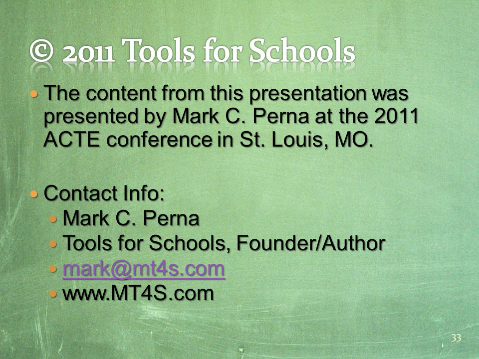 The content from this presentation was presented by Mark C.