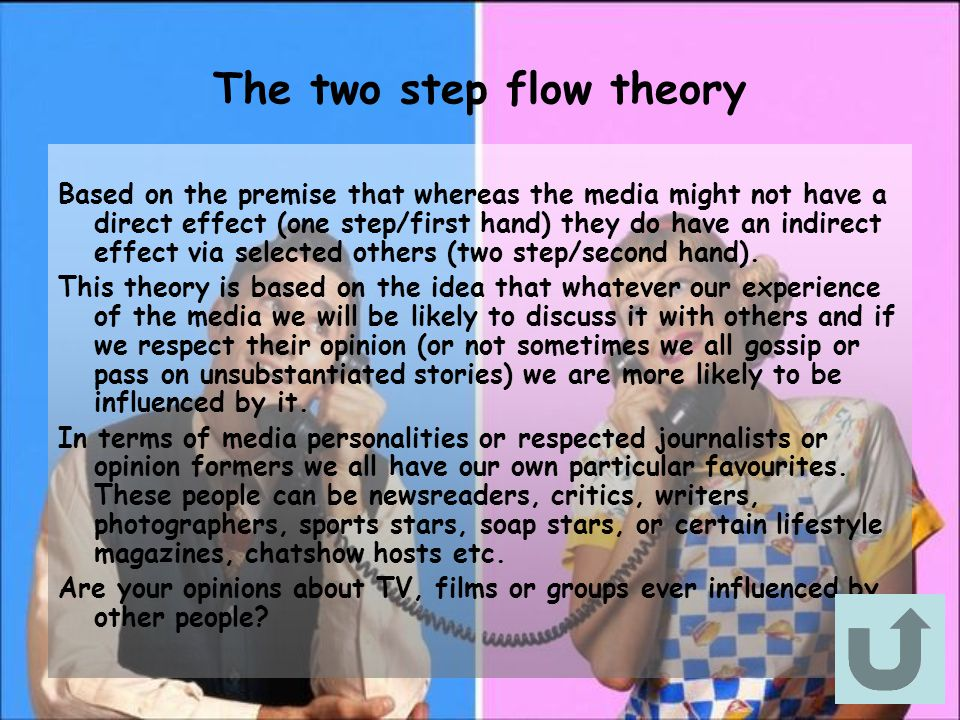 The two step flow theory Based on the premise that whereas the media might not have a direct effect (one step/first hand) they do have an indirect effect via selected others (two step/second hand).