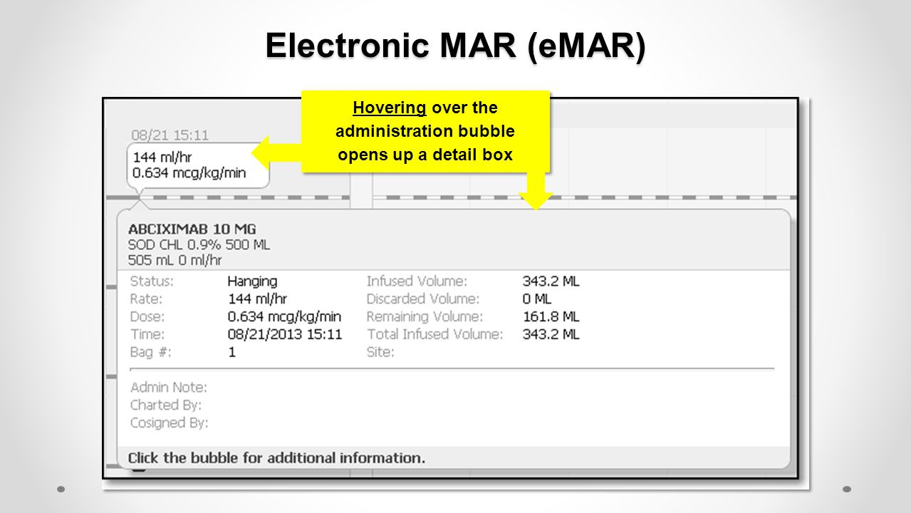 Electronic MAR (eMAR) Hovering over the administration bubble opens up a detail box