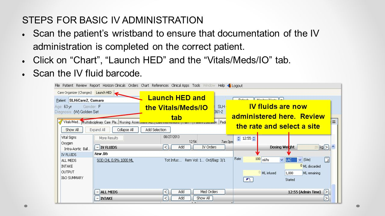 STEPS FOR BASIC IV ADMINISTRATION  Scan the patient's wristband to ensure that documentation of the IV administration is completed on the correct pat