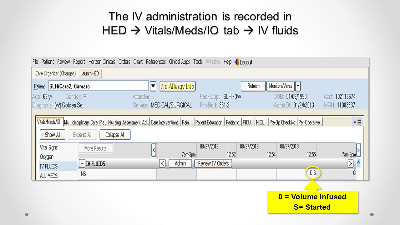 The IV administration is recorded in HED  Vitals/Meds/IO tab  IV fluids 0 = Volume infused S= Started