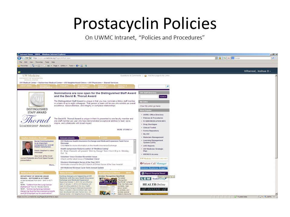 Prostacyclin Policies On UWMC Intranet, Policies and Procedures