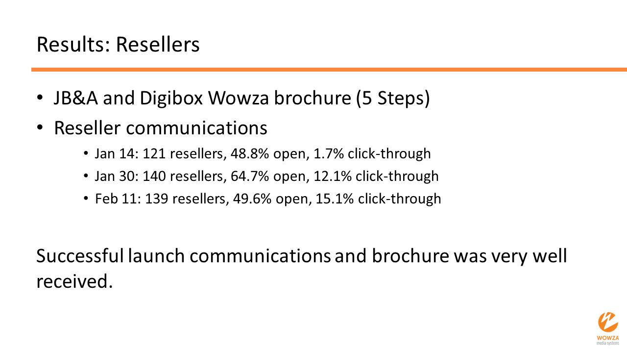 Results: Resellers JB&A and Digibox Wowza brochure (5 Steps) Reseller communications Jan 14: 121 resellers, 48.8% open, 1.7% click-through Jan 30: 140