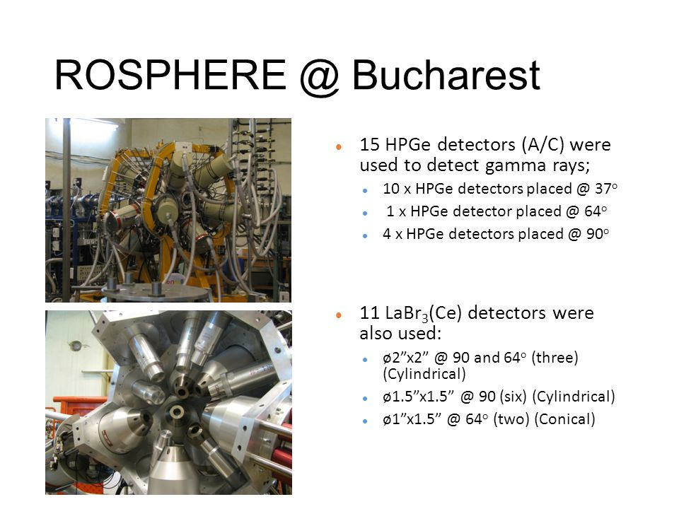 ROSPHERE @ Bucharest 15 HPGe detectors (A/C) were used to detect gamma rays; 10 x HPGe detectors placed @ 37 o 1 x HPGe detector placed @ 64 o 4 x HPGe detectors placed @ 90 o 11 LaBr 3 (Ce) detectors were also used: ø2 x2 @ 90 and 64 o (three) (Cylindrical) ø1.5 x1.5 @ 90 (six) (Cylindrical) ø1 x1.5 @ 64 o (two) (Conical)