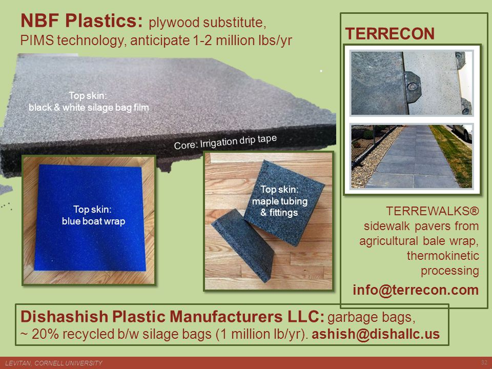 NBF Plastics: plywood substitute, PIMS technology, anticipate 1-2 million lbs/yr TERREWALKS® sidewalk pavers from agricultural bale wrap, thermokinetic processing info@terrecon.com Top skin: blue boat wrap Top skin: black & white silage bag film Top skin: maple tubing & fittings Core: Irrigation drip tape LEVITAN, CORNELL UNIVERSITY 32 TERRECON Dishashish Plastic Manufacturers LLC: garbage bags, ~ 20% recycled b/w silage bags (1 million lb/yr).