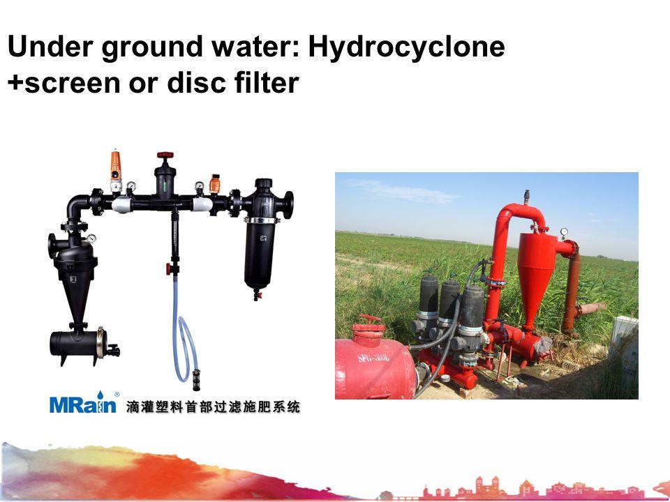 Under ground water: Hydrocyclone +screen or disc filter