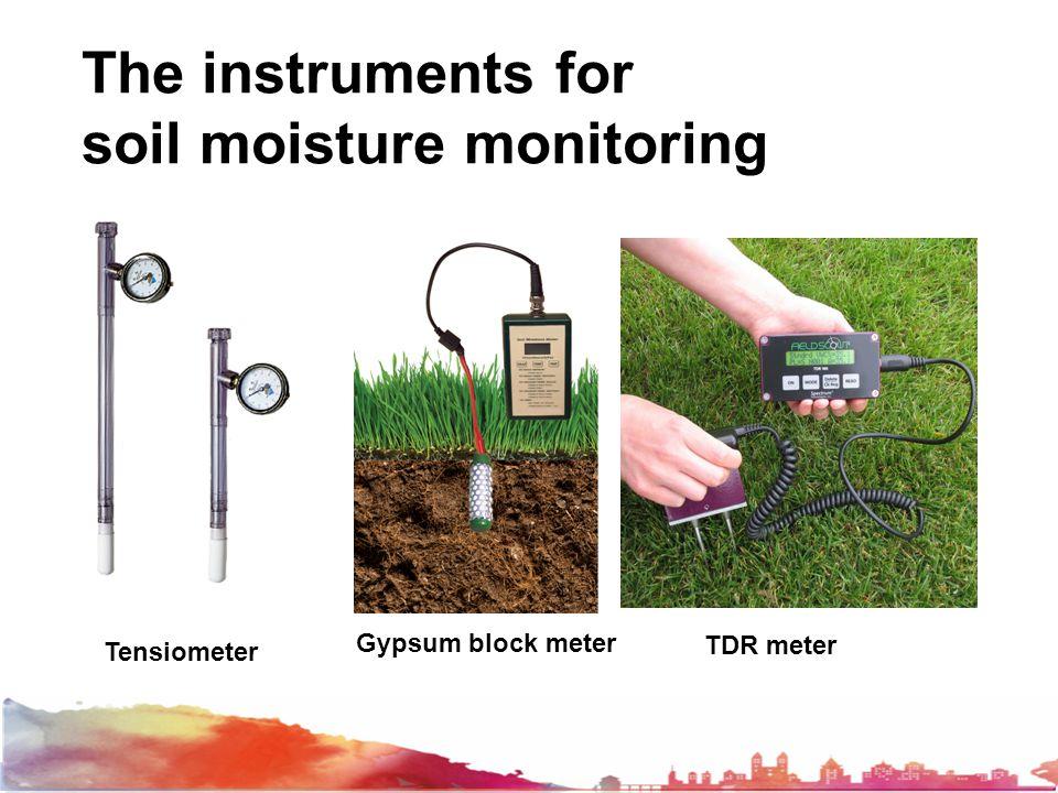 The instruments for soil moisture monitoring Tensiometer Gypsum block meter TDR meter