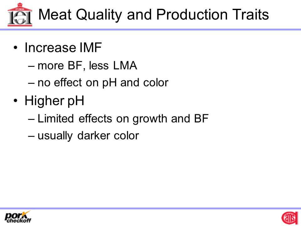 Meat Quality and Production Traits Increase IMF –more BF, less LMA –no effect on pH and color Higher pH –Limited effects on growth and BF –usually darker color