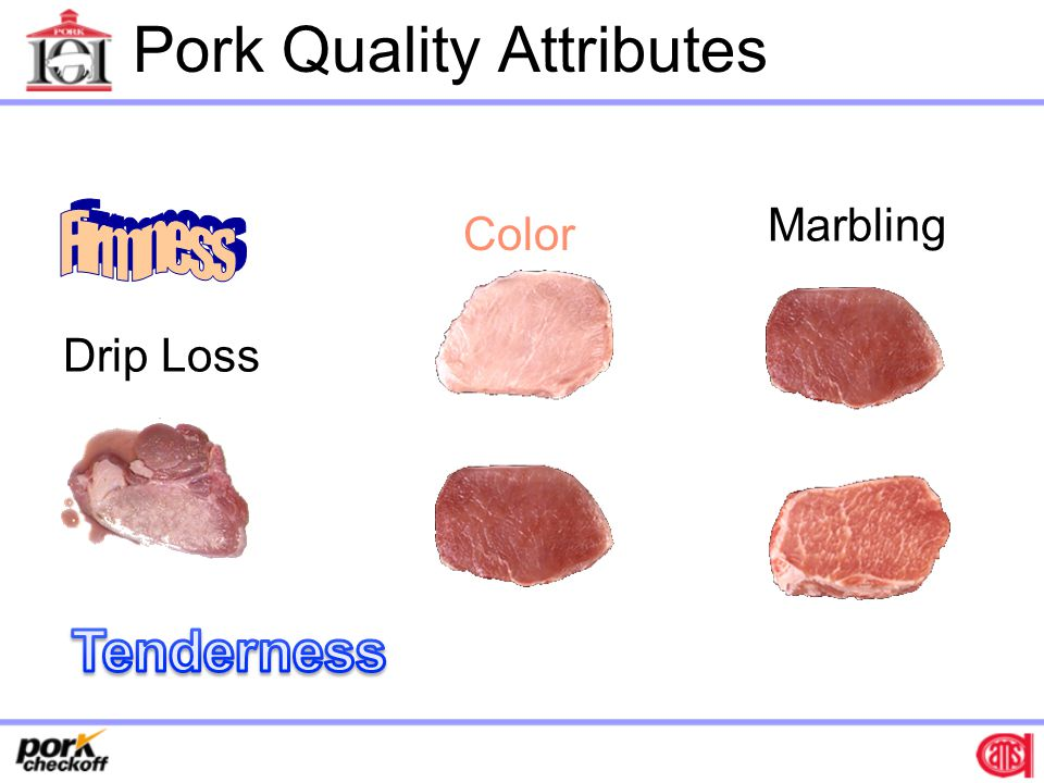 Genetic Variability in Meat Quality Differences between breeds or genetic lines Variation within breeds or genetic lines Major gene effects –Halothane gene, Napole gene, etc.