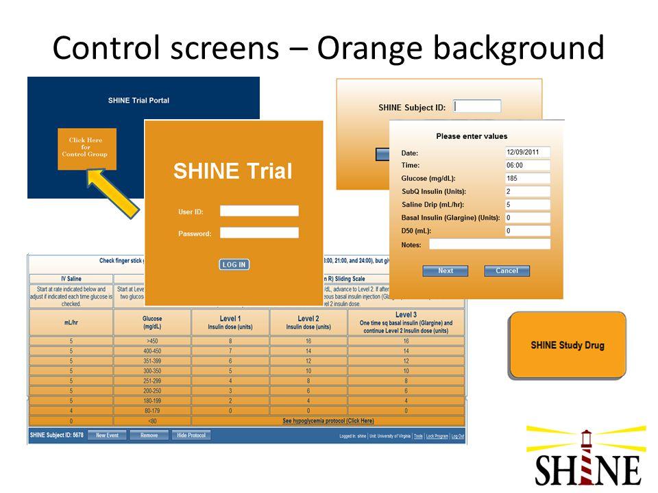 Control screens – Orange background