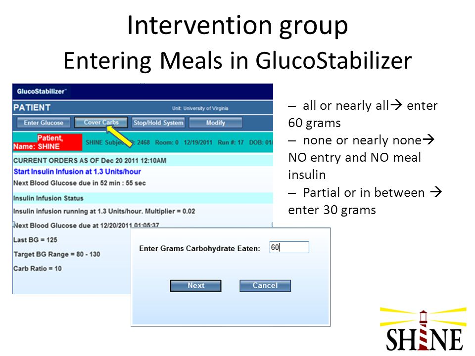 Intervention group Entering Meals in GlucoStabilizer – all or nearly all  enter 60 grams – none or nearly none  NO entry and NO meal insulin – Parti