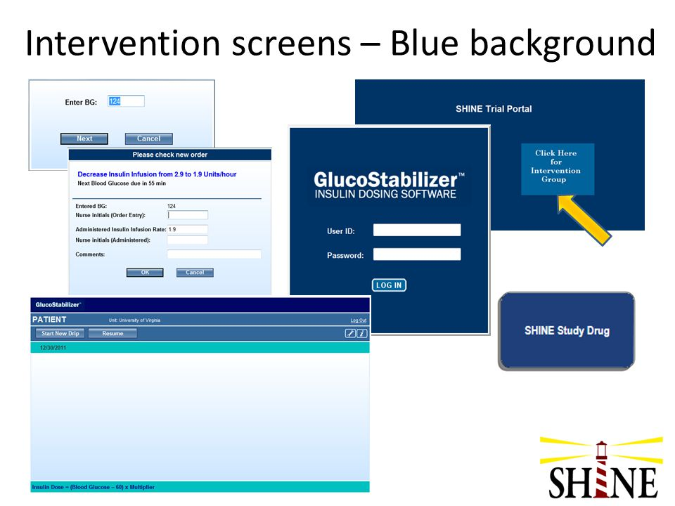 Intervention screens – Blue background