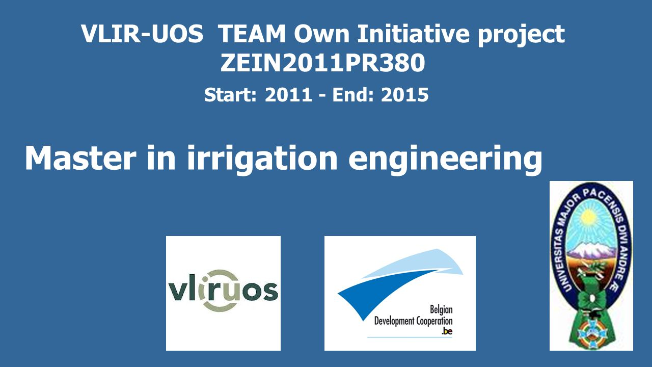 VLIR-UOS Own Initiative project ZEIN2005SEL4 Quinagua Project (May 2005 – April 2011) Potentiality of raising quinoa production by deficit irrigation to alleviate poverty in the depressed areas of the Bolivian Altiplano History: