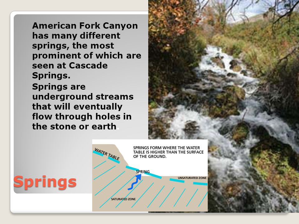 American Fork Canyon has many different springs, the most prominent of which are seen at Cascade Springs.