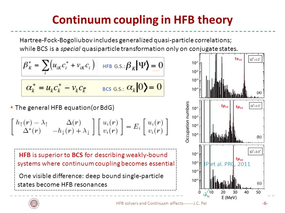 Continuum coupling in HFB theory HFB solvers and Continuum effects-------J.C. Pei-6--6- HFB is superior to BCS for describing weakly-bound systems whe