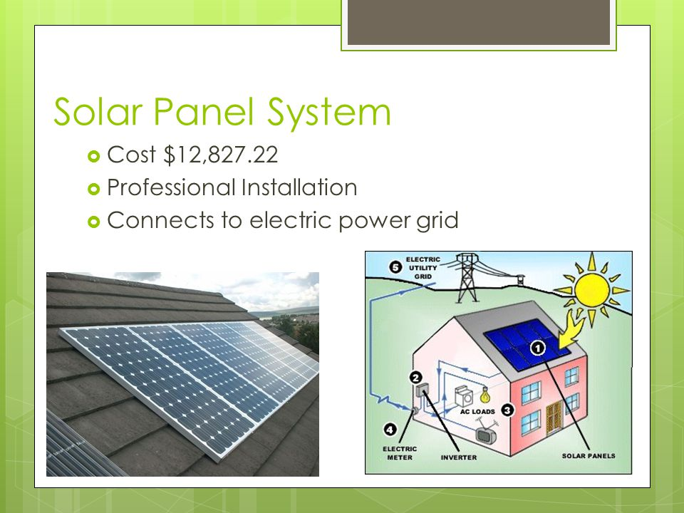 Solar Panel System  Cost $12,827.22  Professional Installation  Connects to electric power grid