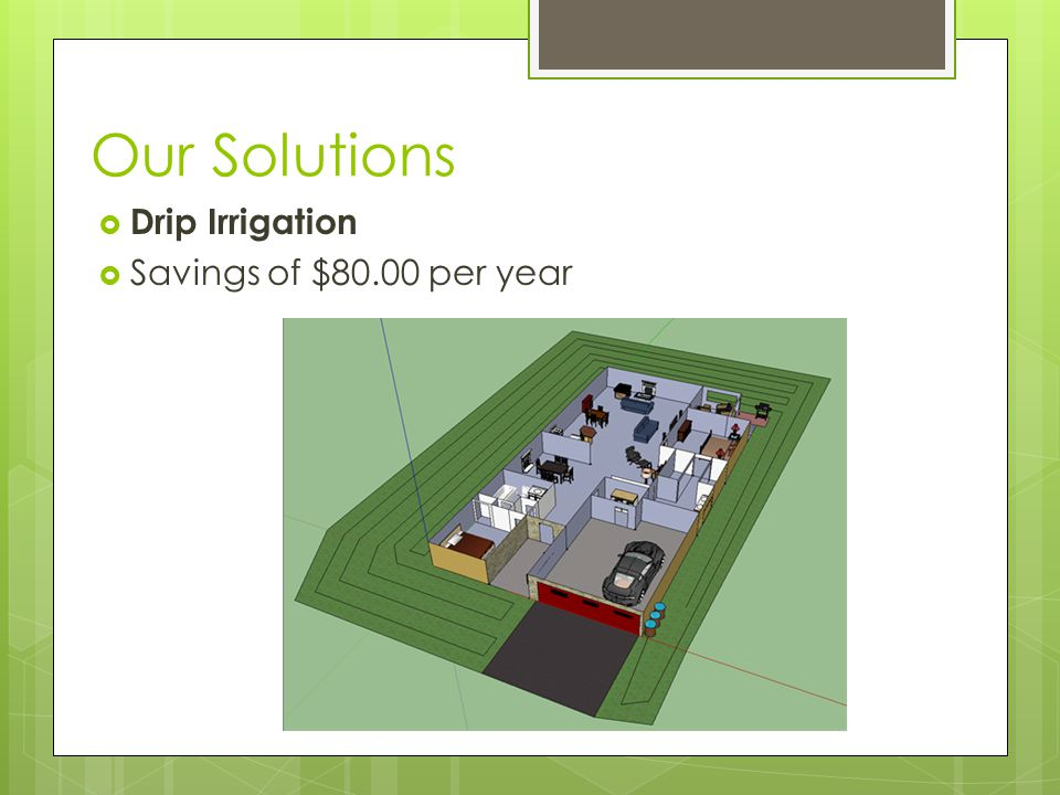Our Solutions  Drip Irrigation  Savings of $80.00 per year