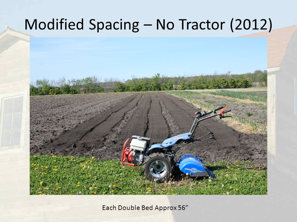 Modified Spacing – No Tractor (2012) Each Double Bed Approx 56