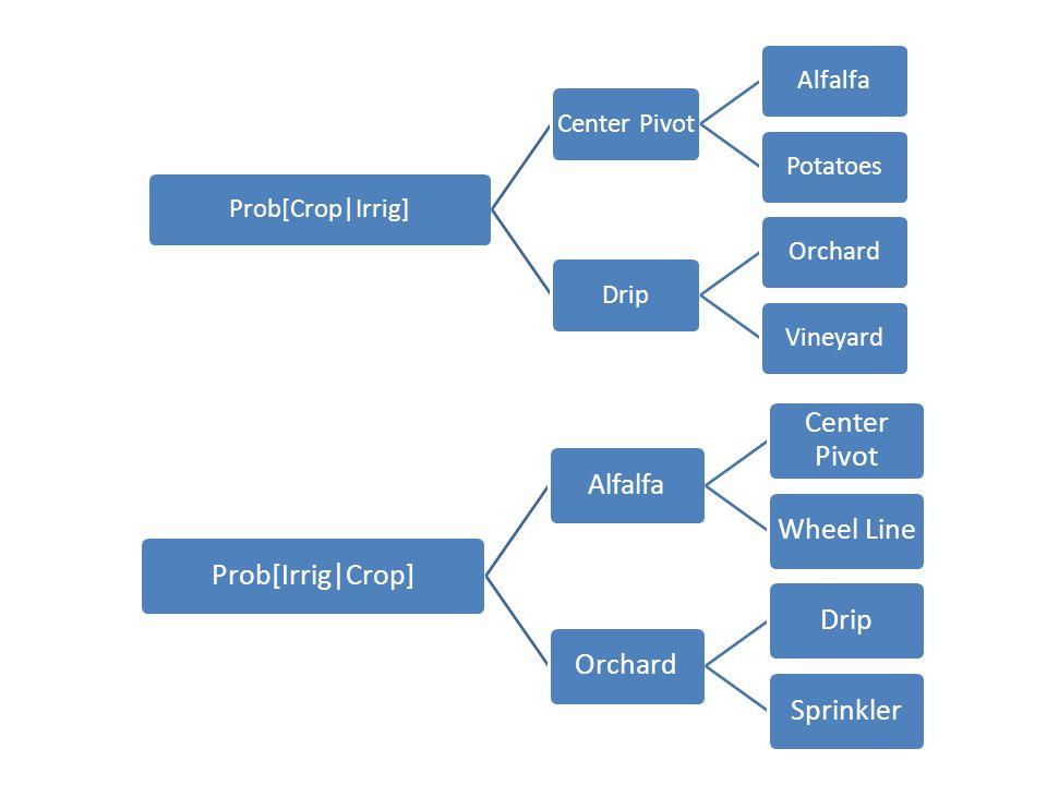 Prob[Crop|Irrig]Center PivotAlfalfaPotatoesDripOrchardVineyard Prob[Irrig|Crop]Alfalfa Center Pivot Wheel LineOrchardDripSprinkler