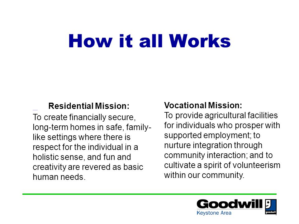 How it all Works Residential Mission: To create financially secure, long-term homes in safe, family- like settings where there is respect for the individual in a holistic sense, and fun and creativity are revered as basic human needs.