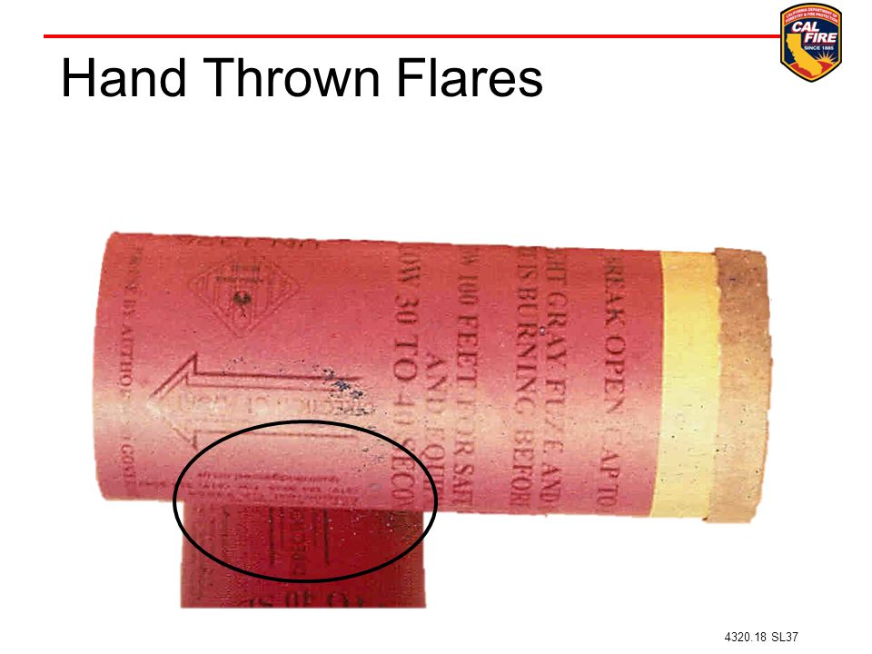 Hand Thrown Flares –Arrow on flare directs the direction of throw 4320.18 SL37