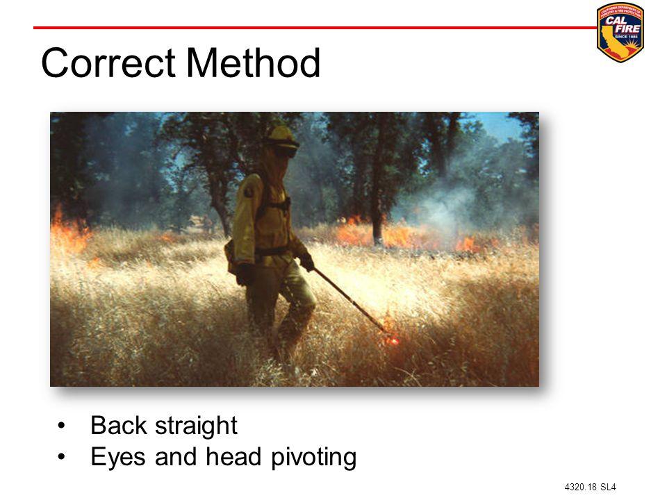 Correct Method 4320.18 SL4 Back straight Eyes and head pivoting