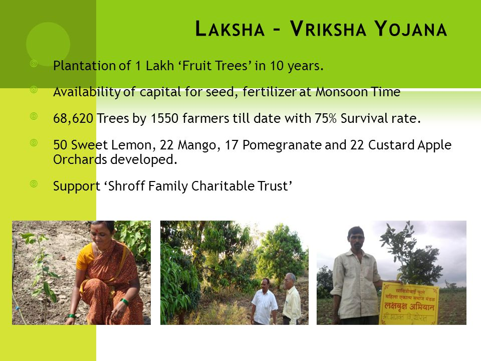 L AKSHA – V RIKSHA Y OJANA Plantation of 1 Lakh 'Fruit Trees' in 10 years. Availability of capital for seed, fertilizer at Monsoon Time 68,620 Tree