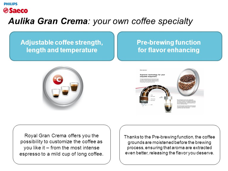 Aulika Gran Crema: your own coffee specialty Royal Gran Crema offers you the possibility to customize the coffee as you like it – from the most intens