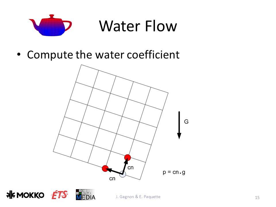 Water Flow J. Gagnon & E. Paquette 15 Compute the water coefficient