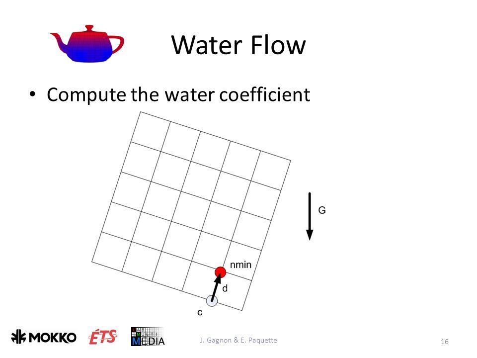 Water Flow J. Gagnon & E. Paquette 16 Compute the water coefficient