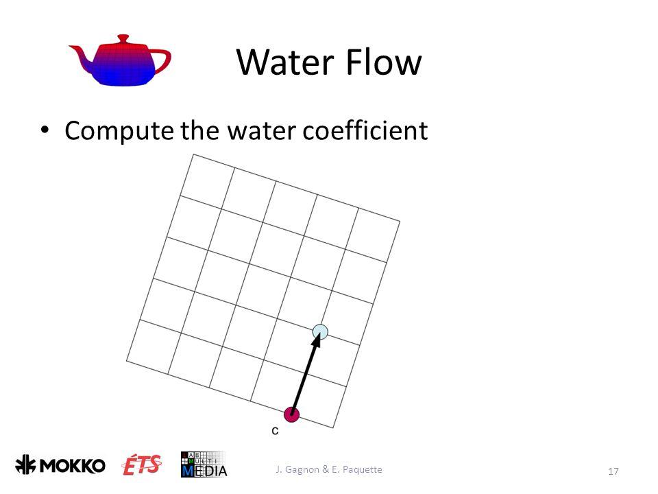 Water Flow J. Gagnon & E. Paquette 17 Compute the water coefficient