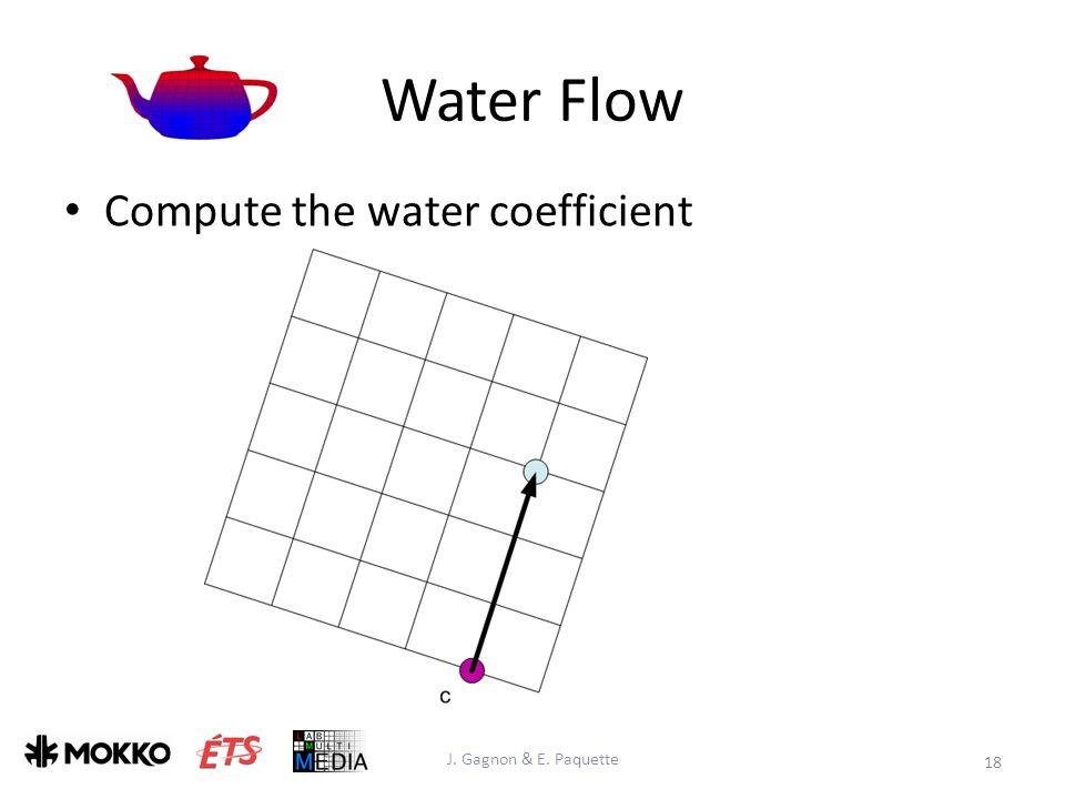 Water Flow J. Gagnon & E. Paquette 18 Compute the water coefficient