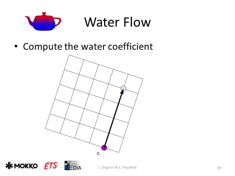 Water Flow J. Gagnon & E. Paquette 19 Compute the water coefficient