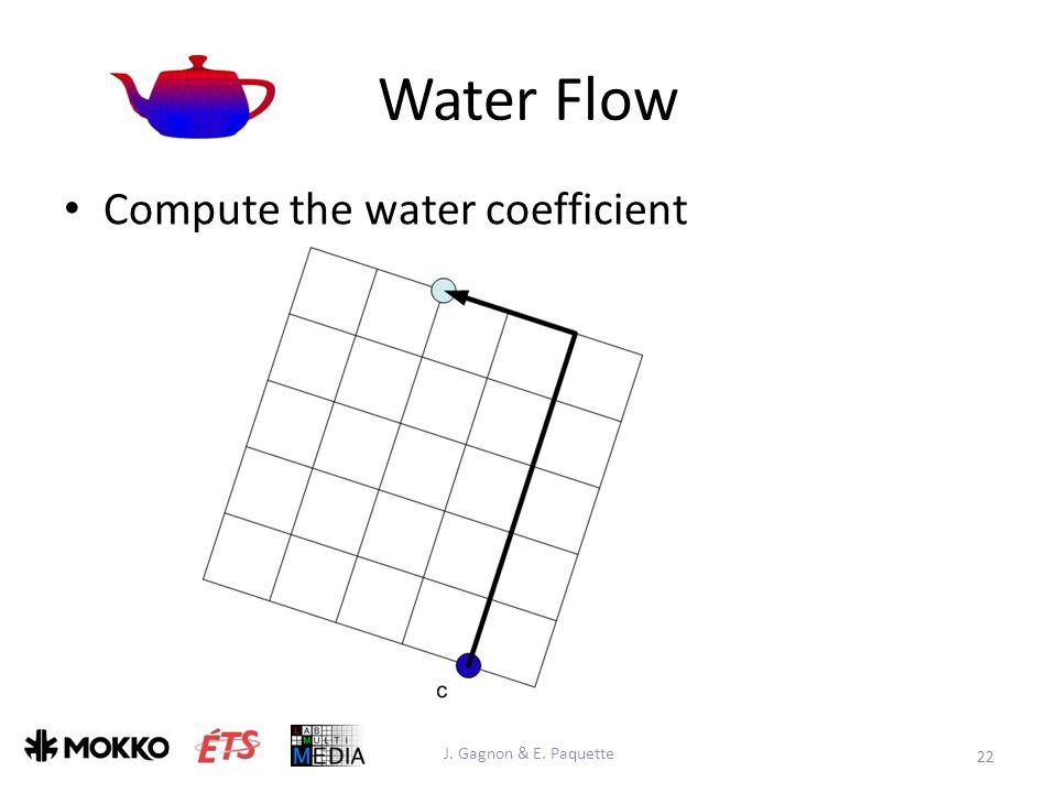 Water Flow J. Gagnon & E. Paquette 22 Compute the water coefficient