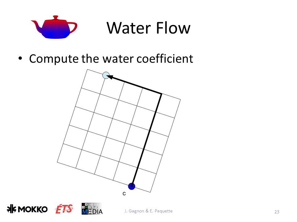 Water Flow J. Gagnon & E. Paquette 23 Compute the water coefficient