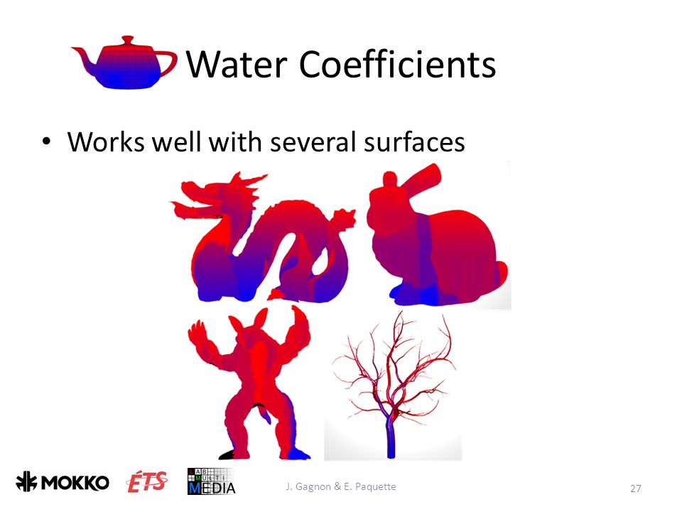 Water Coefficients Works well with several surfaces J. Gagnon & E. Paquette 27