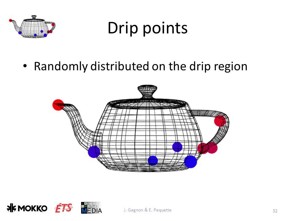 Drip points J. Gagnon & E. Paquette 32 Randomly distributed on the drip region