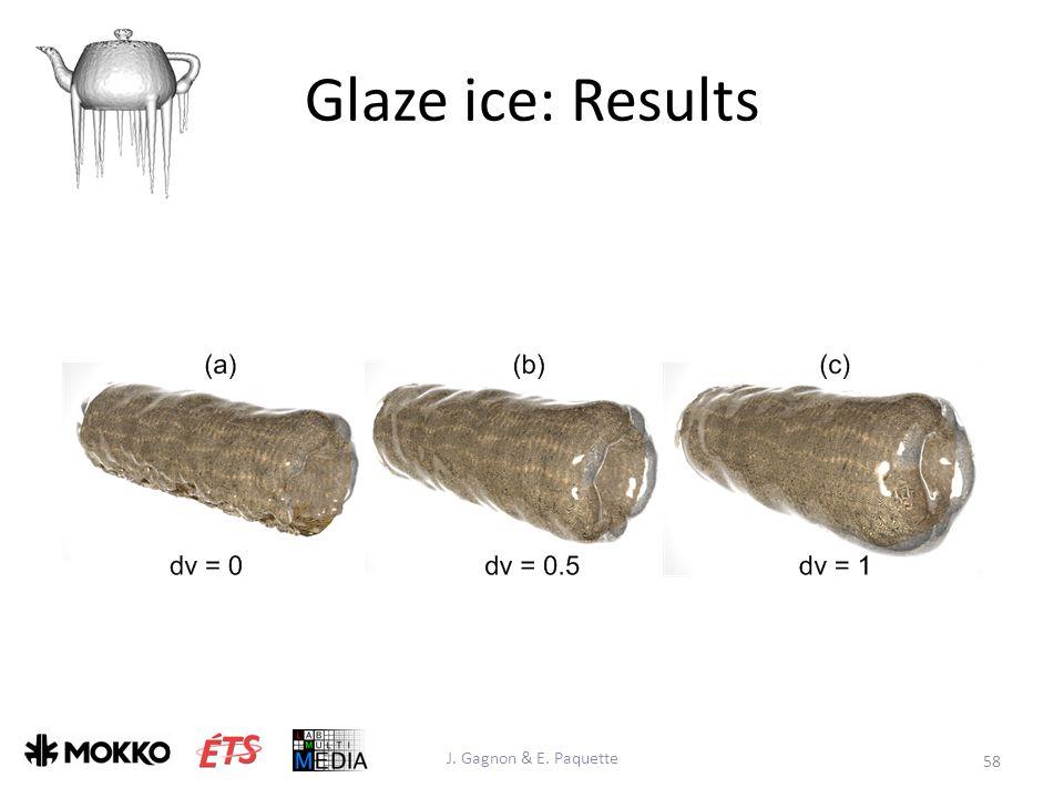 Glaze ice: Results J. Gagnon & E. Paquette 58