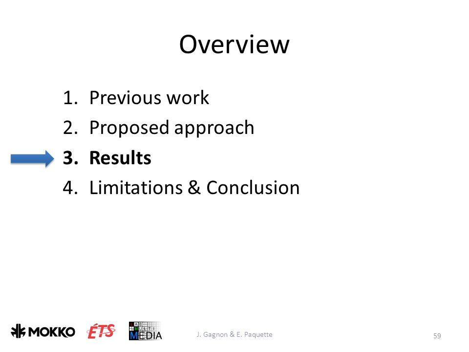 Overview 1.Previous work 2.Proposed approach 3.Results 4.Limitations & Conclusion 59 J.