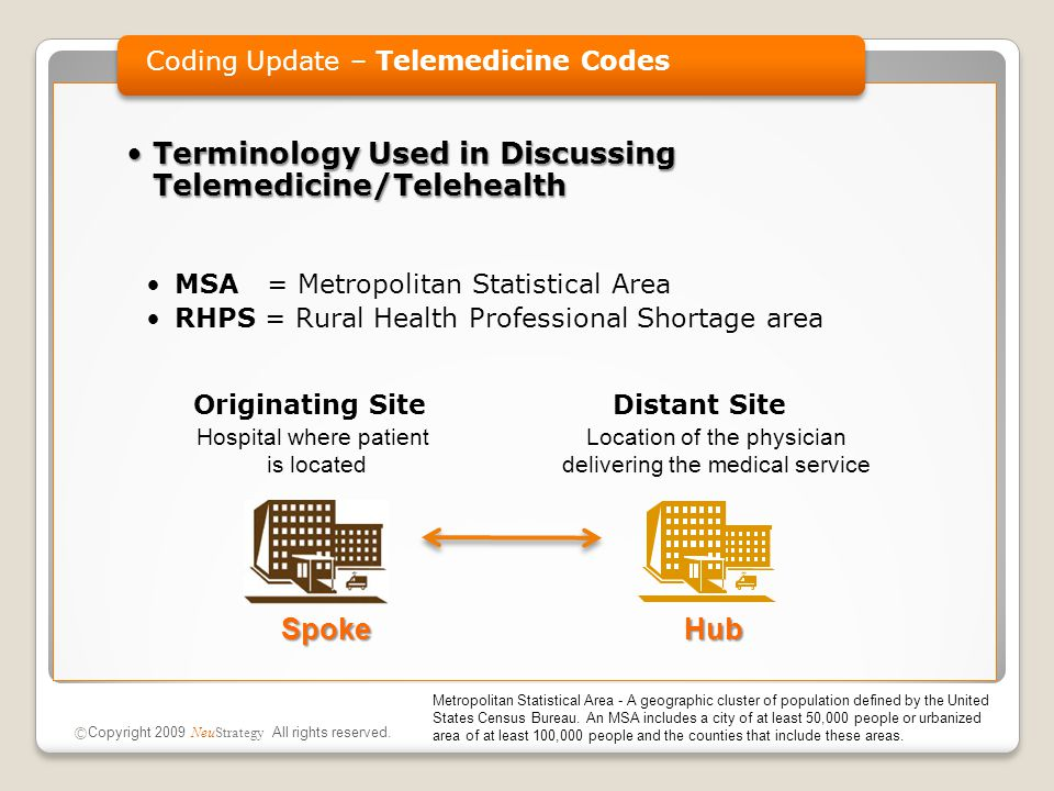 Terminology Used in Discussing Telemedicine/TelehealthTerminology Used in Discussing Telemedicine/Telehealth MSA = Metropolitan Statistical Area RHPS = Rural Health Professional Shortage area Originating Site  Distant Site Coding Update – Telemedicine Codes © Copyright 2009 NeuStrategy All rights reserved.