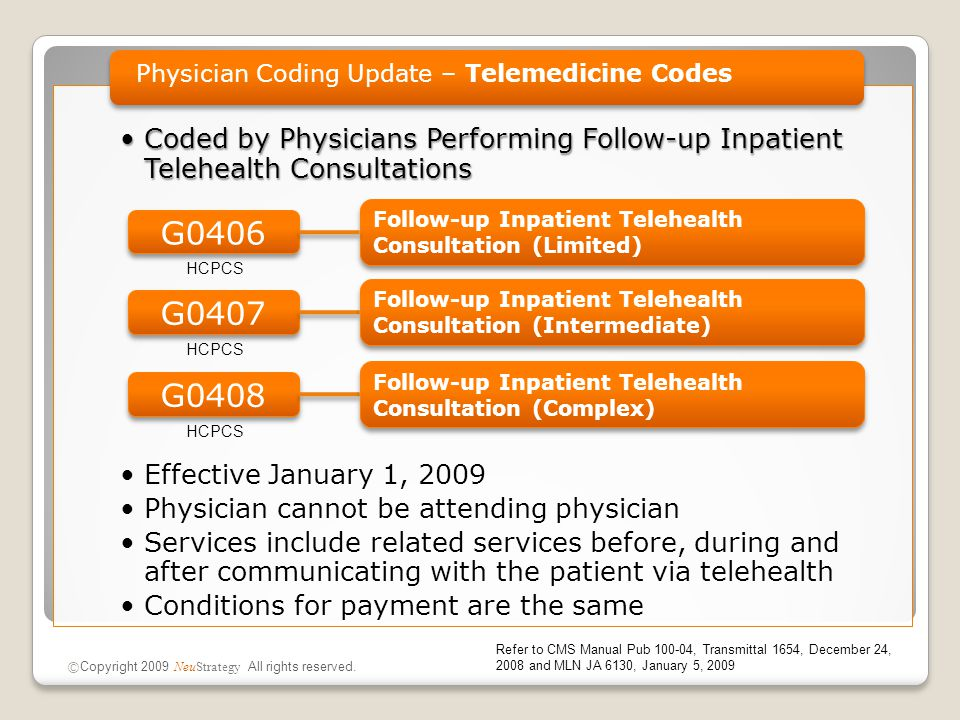 Coded by Physicians Performing Follow-up Inpatient Telehealth ConsultationsCoded by Physicians Performing Follow-up Inpatient Telehealth Consultations Effective January 1, 2009 Physician cannot be attending physician Services include related services before, during and after communicating with the patient via telehealth Conditions for payment are the same Physician Coding Update – Telemedicine Codes © Copyright 2009 NeuStrategy All rights reserved.