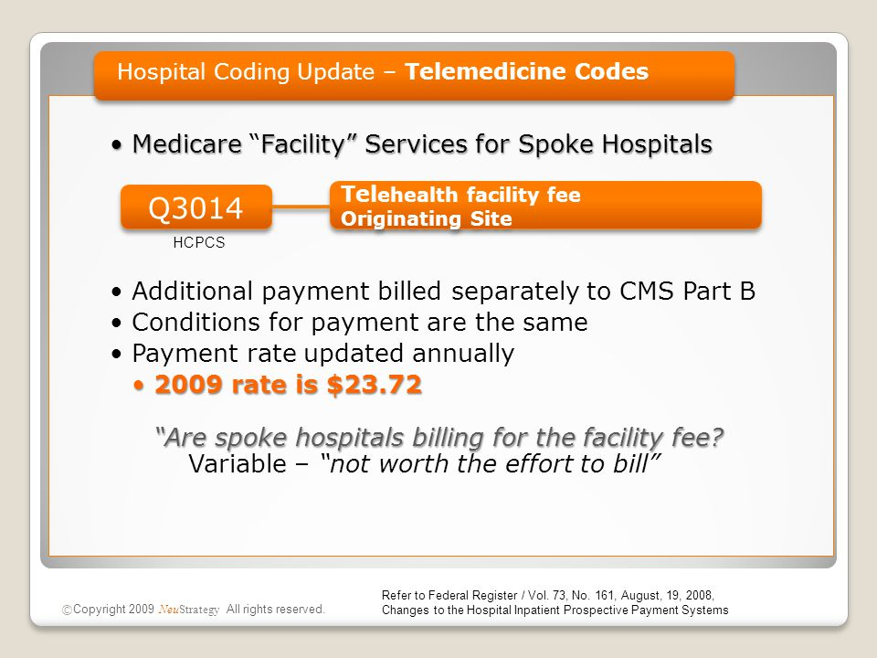 Medicare Facility Services for Spoke HospitalsMedicare Facility Services for Spoke Hospitals Additional payment billed separately to CMS Part B Conditions for payment are the same Payment rate updated annually 2009 rate is $23.72 Are spoke hospitals billing for the facility fee 2009 rate is $23.72 Are spoke hospitals billing for the facility fee.