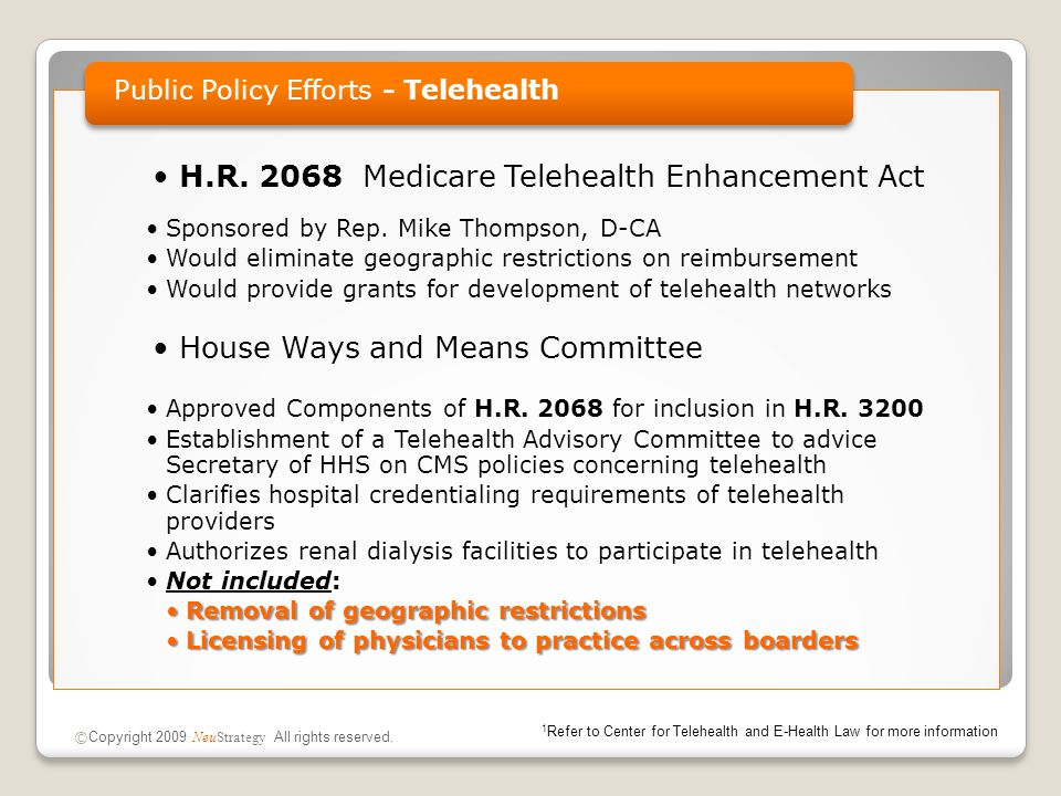 H.R. 2068 Medicare Telehealth Enhancement Act Sponsored by Rep.