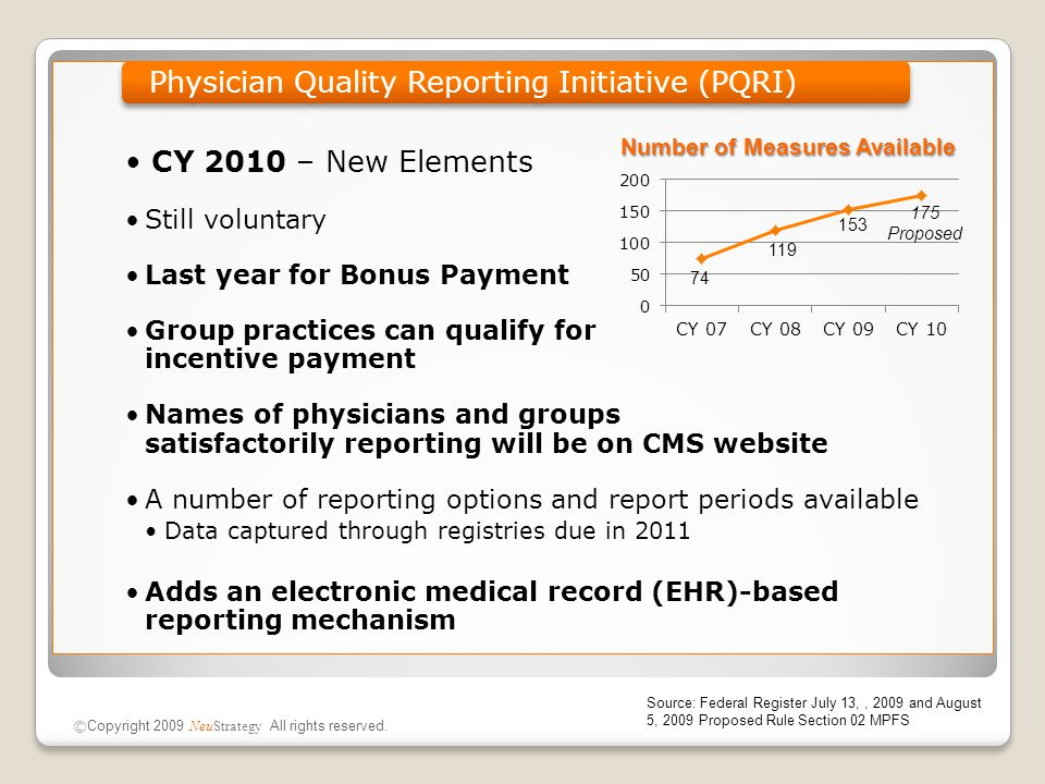 CY 2010 – New Elements Still voluntary Last year for Bonus Payment Group practices can qualify for incentive payment Names of physicians and groups sa