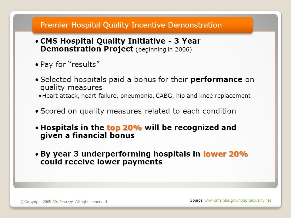 CMS Hospital Quality Initiative - 3 Year Demonstration Project (beginning in 2006) Pay for results Selected hospitals paid a bonus for their performance on quality measures Heart attack, heart failure, pneumonia, CABG, hip and knee replacement Scored on quality measures related to each condition top 20%Hospitals in the top 20% will be recognized and given a financial bonus lower 20%By year 3 underperforming hospitals in lower 20% could receive lower payments Premier Hospital Quality Incentive Demonstration © Copyright 2009 NeuStrategy All rights reserved.